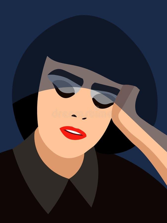 Retrato de uma mulher cansado ilustração stock