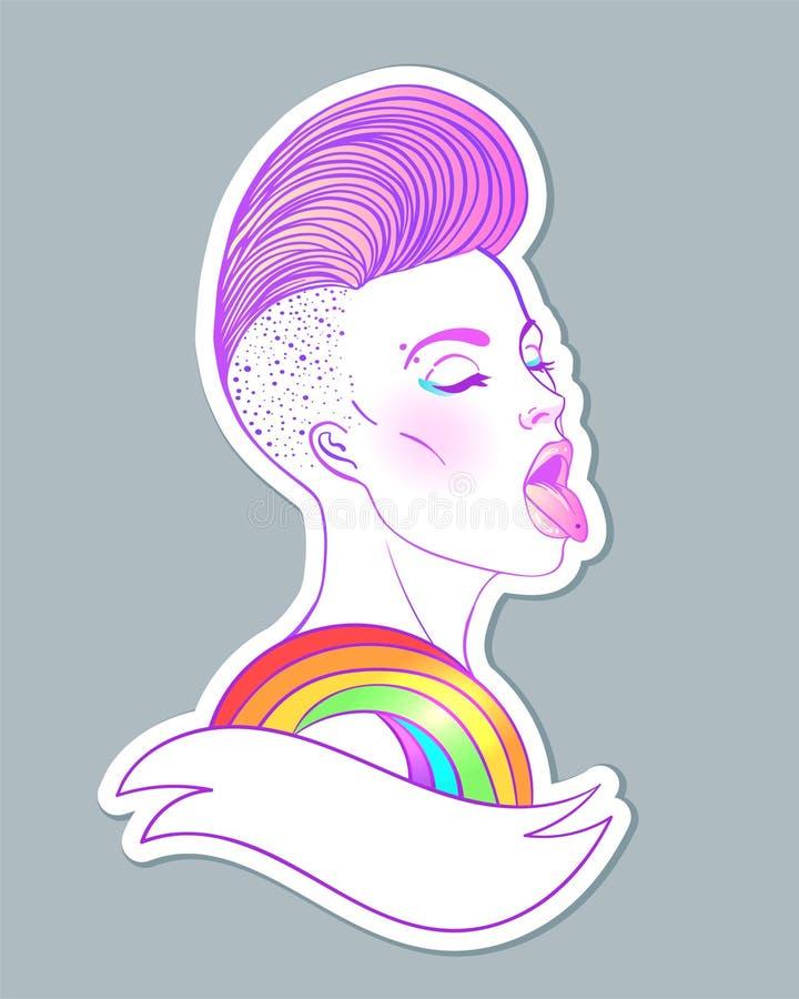 Retrato de uma mulher caucasiano bonita nova com lado curto a língua barbeada do arco-íris da exibição do corte de cabelo Conceit ilustração royalty free