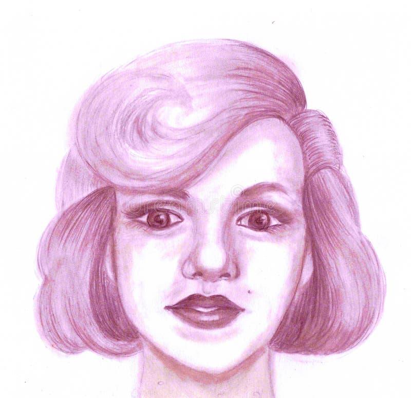 Retrato de uma mulher com um penteado magnífico ilustração royalty free