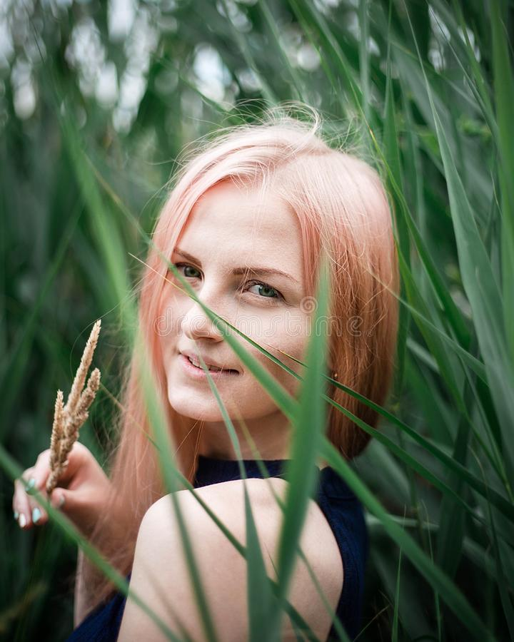 Retrato de uma mulher cor-de-rosa bonita do cabelo fora no parque foto de stock royalty free