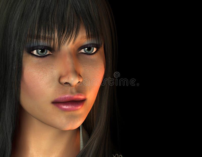 Retrato de uma mulher dark-haired ilustração royalty free
