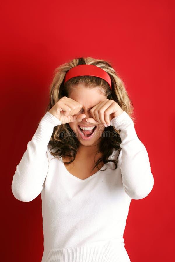 Retrato de uma mulher de grito fotografia de stock