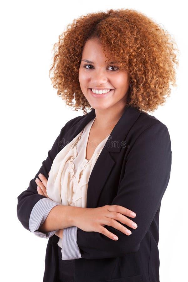 Retrato de uma mulher de negócio afro-americano nova - peop preto imagem de stock royalty free