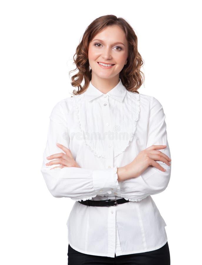 Retrato de uma mulher de negócio nova feliz fotografia de stock royalty free