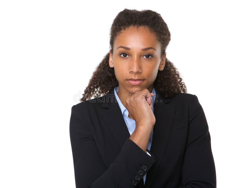 Retrato de uma mulher de negócio nova séria imagens de stock