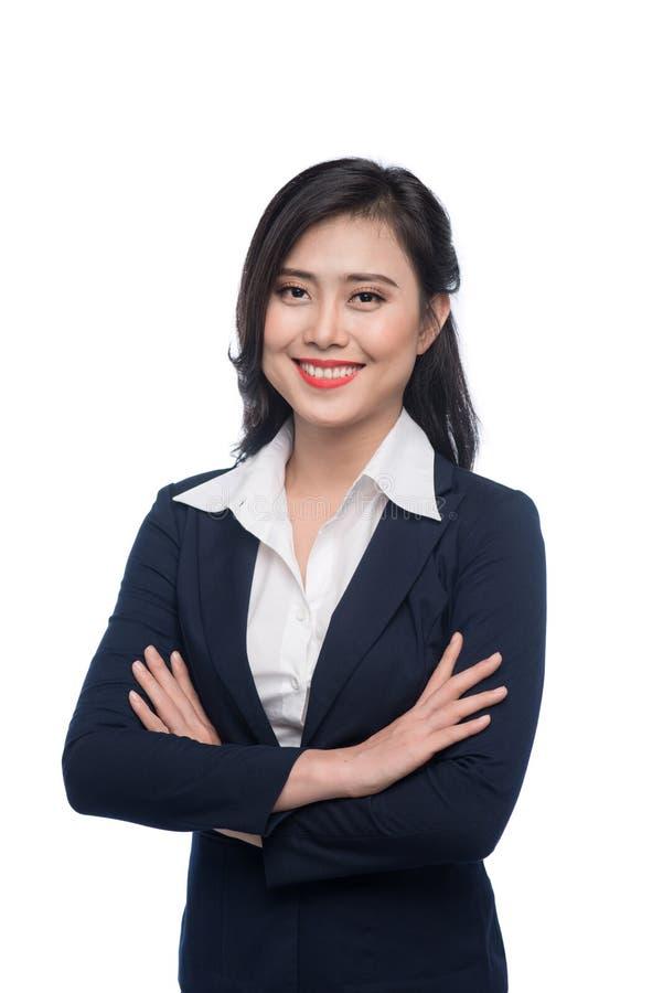 Retrato de uma mulher de negócios nova atrativa isolada no branco foto de stock