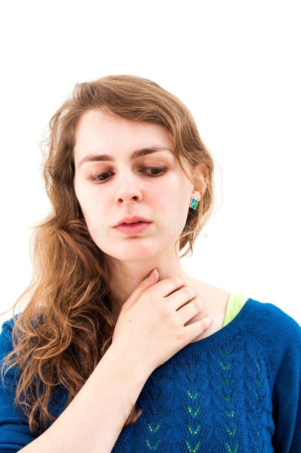 Retrato de uma mulher de pensamento fotografia de stock