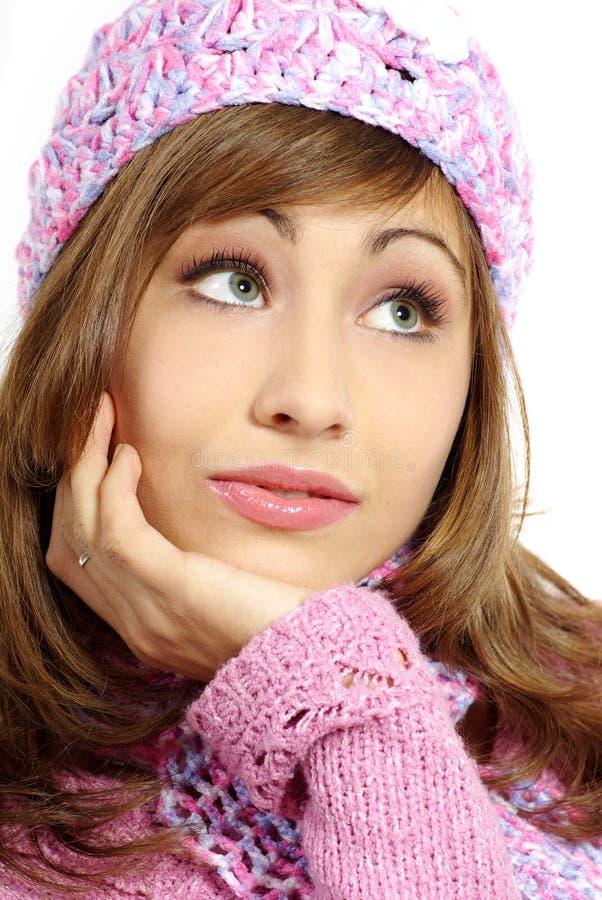 Retrato de uma mulher do inverno/queda imagens de stock