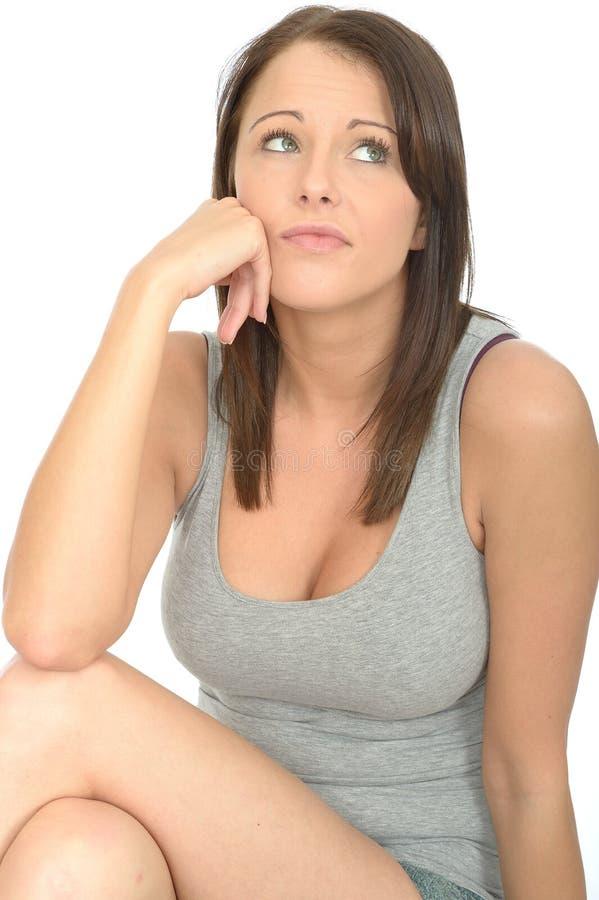 Retrato de uma mulher furada de Fed Up Thoughtful Attractive Young fotografia de stock royalty free