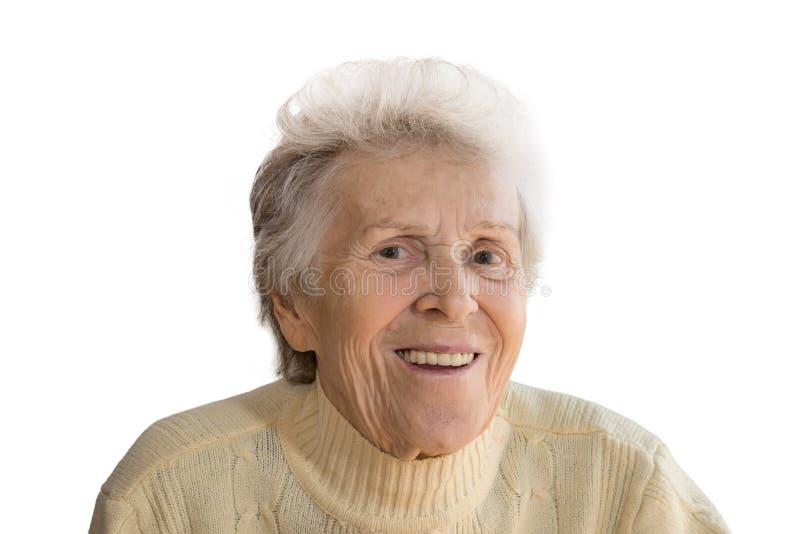 Retrato de uma mulher idosa de sorriso imagens de stock