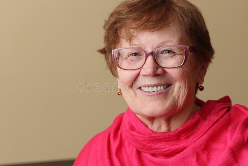 Retrato de uma mulher idosa de sorriso em um lenço e em um sungla brilhantes imagem de stock royalty free