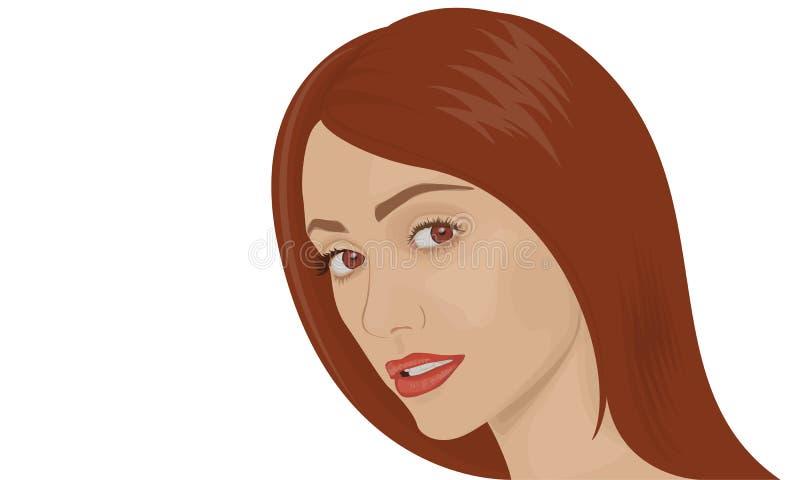 Retrato de uma mulher moreno nova ilustração stock