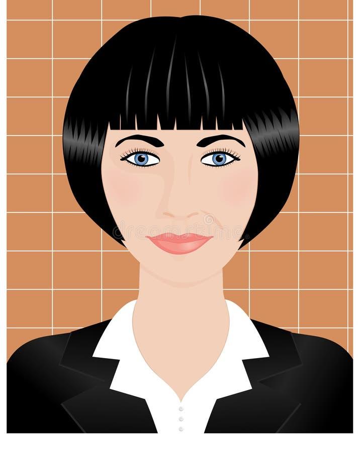 Retrato de uma mulher moreno nova com cabelos curtos ilustração stock