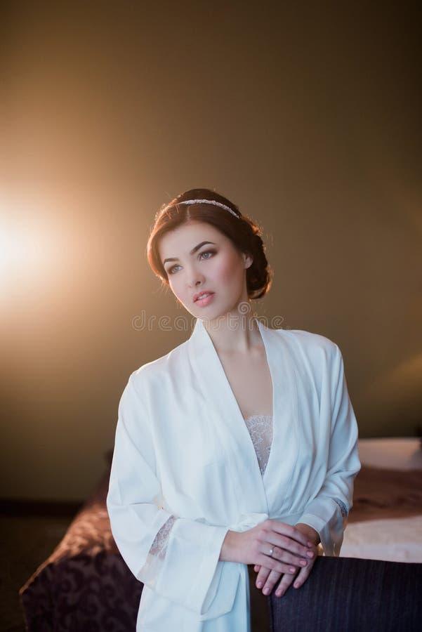 Retrato de uma mulher moreno nova com composição e penteado imagem de stock royalty free