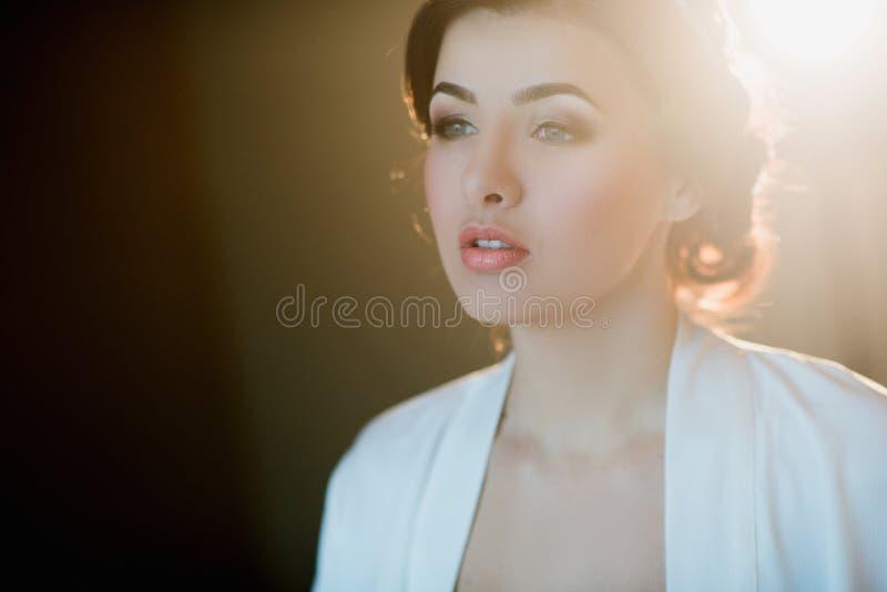 Retrato de uma mulher moreno nova em um vestido bonito com composição e penteado imagem de stock royalty free