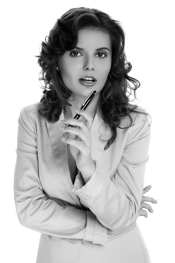 Retrato de uma mulher de neg?cio bonita imagem de stock