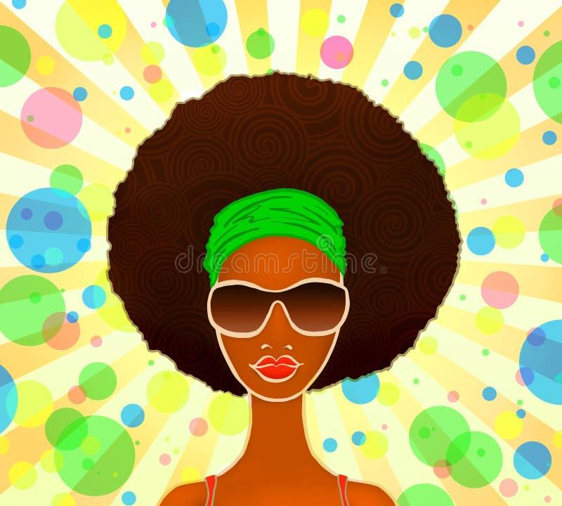 Retrato de uma mulher negra nova em um fundo festivo, modelo da forma, ilustração ilustração stock