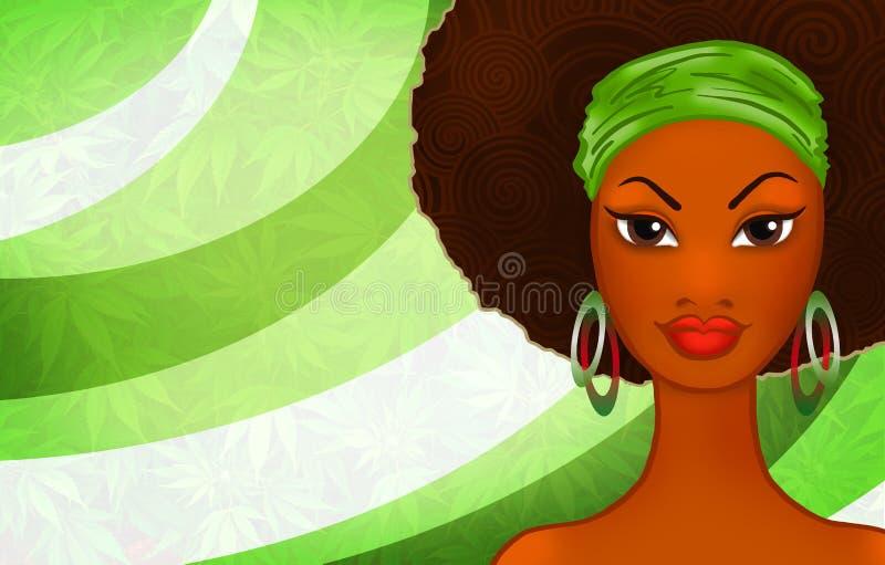 Retrato de uma mulher negra nova no fundo rastafarian étnico ilustração royalty free