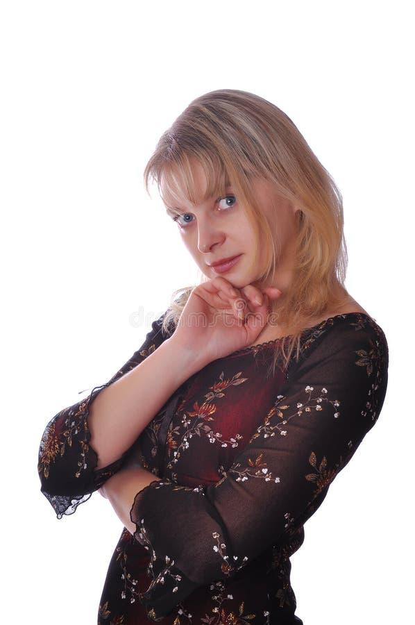 Retrato de uma mulher nova amigável bonita imagens de stock