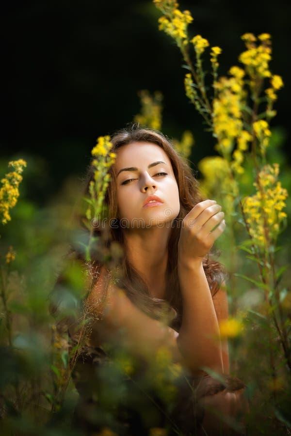 Retrato de uma mulher nova no campo de flores imagens de stock