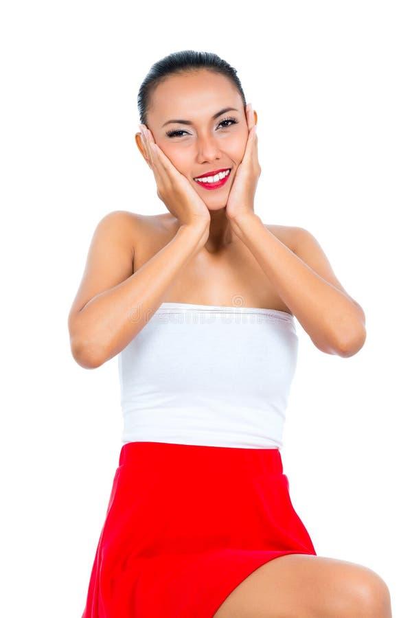 Retrato de uma mulher de sorriso imagens de stock royalty free