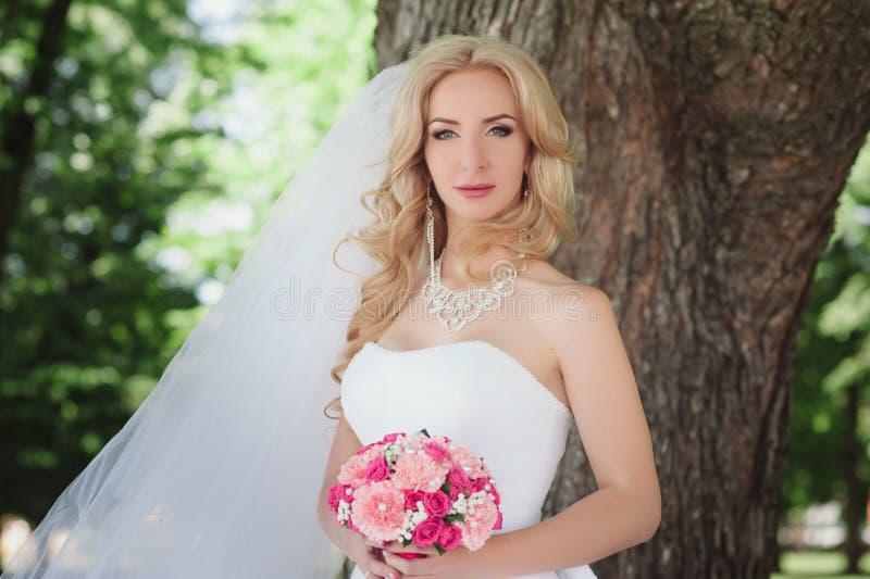 Retrato de uma noiva bonita nova fotografia de stock royalty free