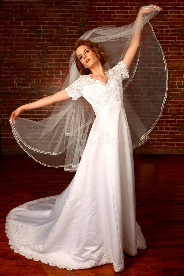 Retrato de uma noiva nova que começ casada fotos de stock royalty free