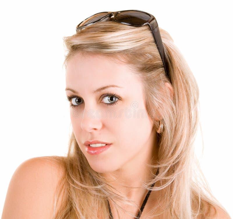 Retrato de uma senhora loura bonita imagem de stock royalty free
