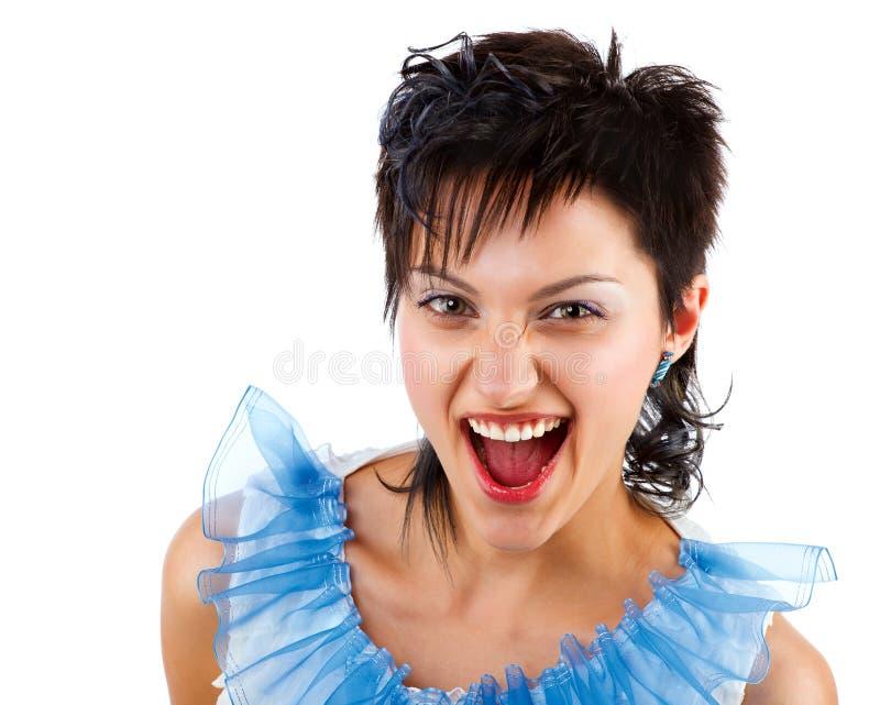 Retrato de uma senhora nova excited imagem de stock