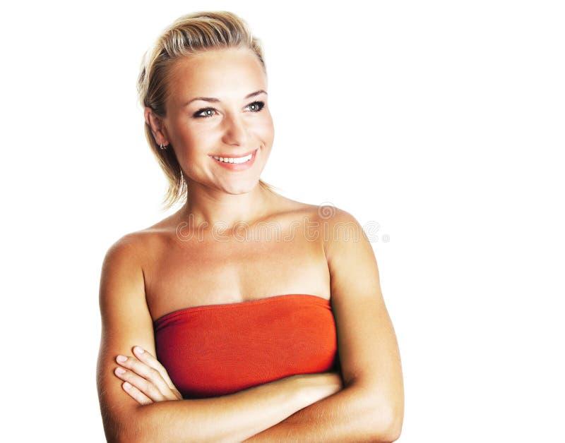 Retrato de uma senhora nova feliz foto de stock