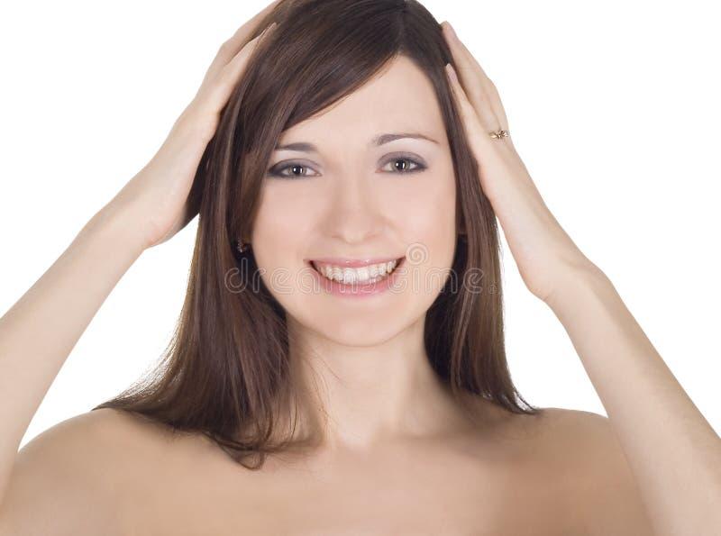 Retrato de uma senhora nude bonita na surpresa fotografia de stock royalty free