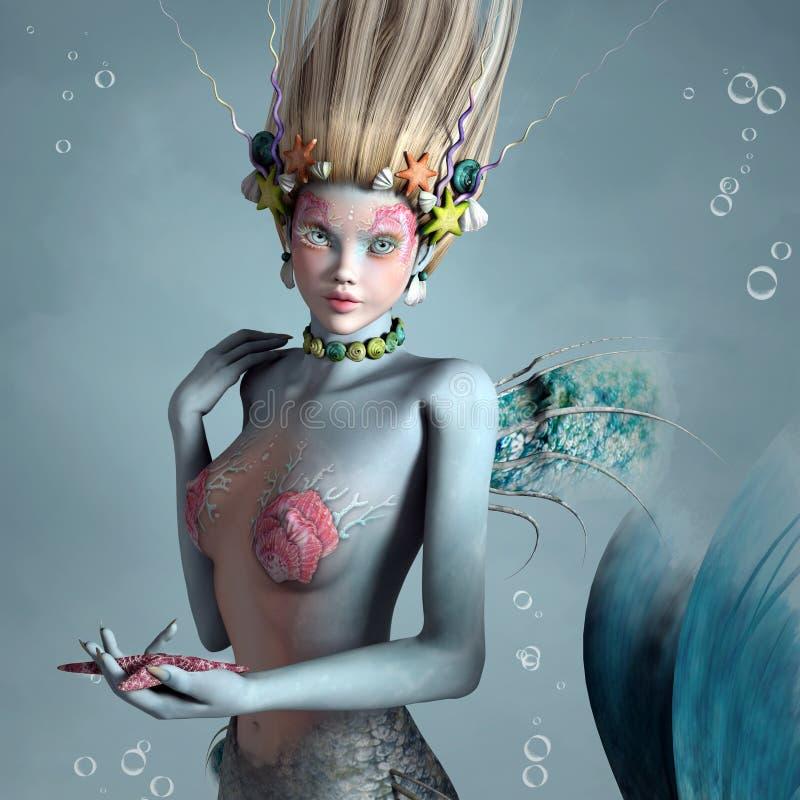 Retrato de uma sereia bonita ilustração royalty free