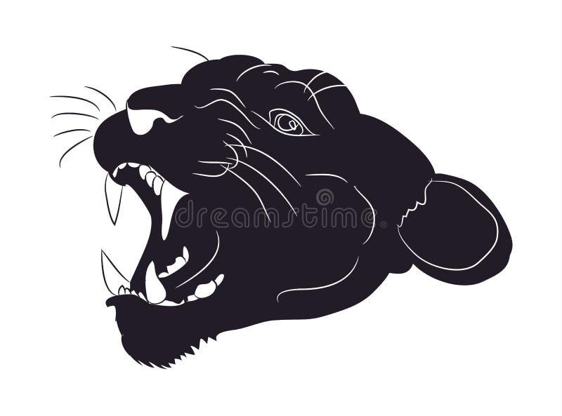 Retrato de uma silhueta do puma, vetor ilustração stock
