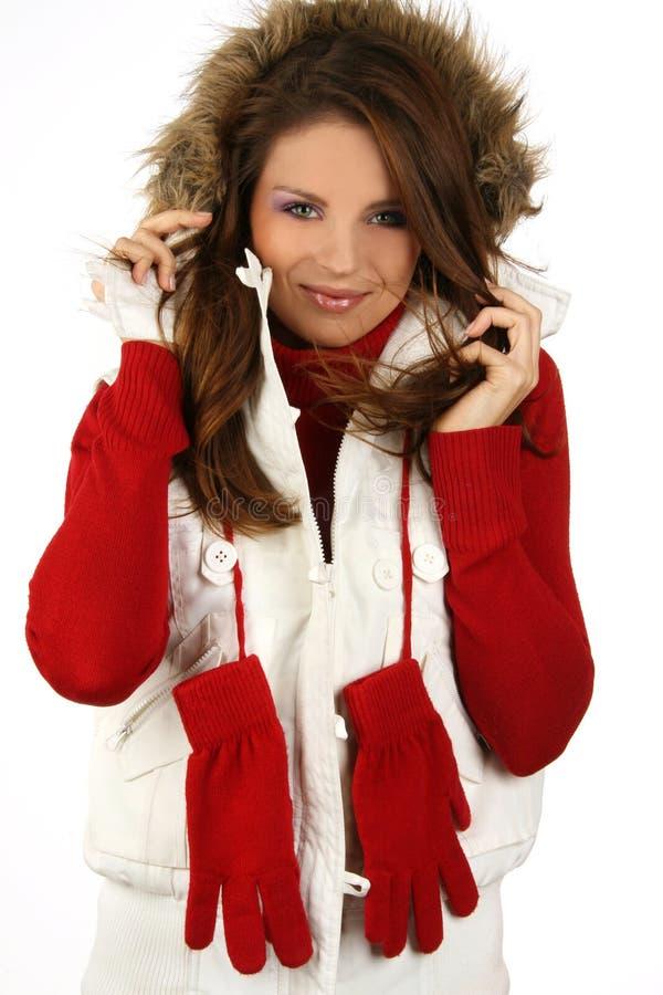 Retrato de uma snowboarding feliz da rapariga fotografia de stock