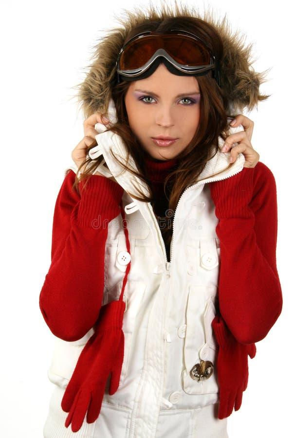 Retrato de uma snowboarding feliz da rapariga imagem de stock