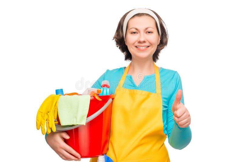 Retrato de un ama de casa feliz, antes de limpiar la casa imágenes de archivo libres de regalías