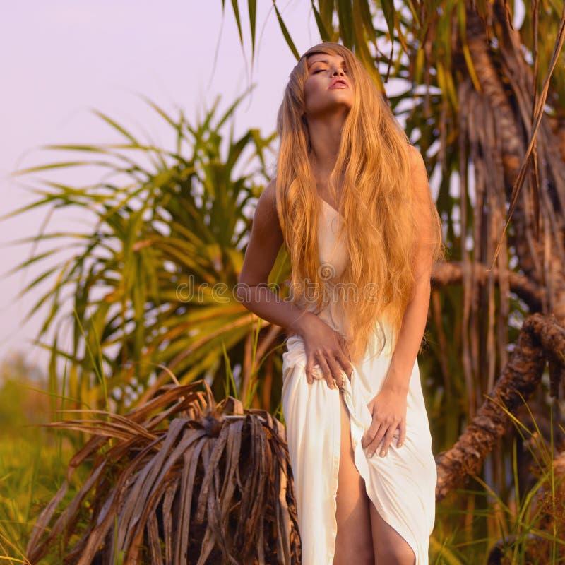 Señora hermosa del baile en el bosque foto de archivo