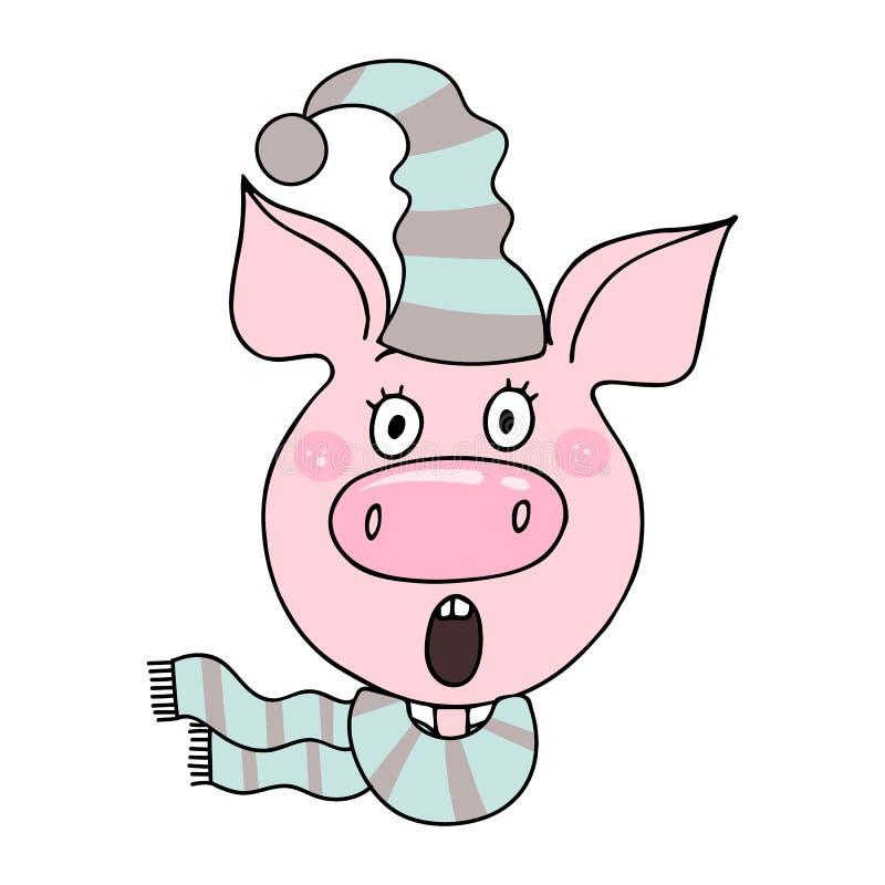 Retrato de un cerdo lindo con la expresión sorprendida stock de ilustración