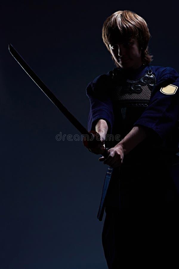 Retrato de un combatiente del kendo fotografía de archivo libre de regalías