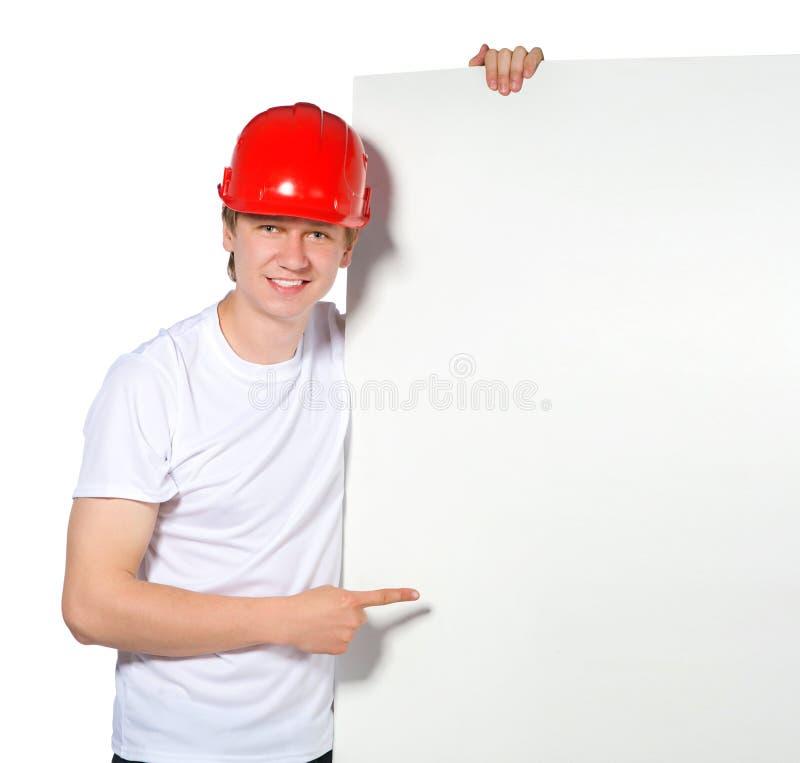 Retrato de un constructor imagenes de archivo