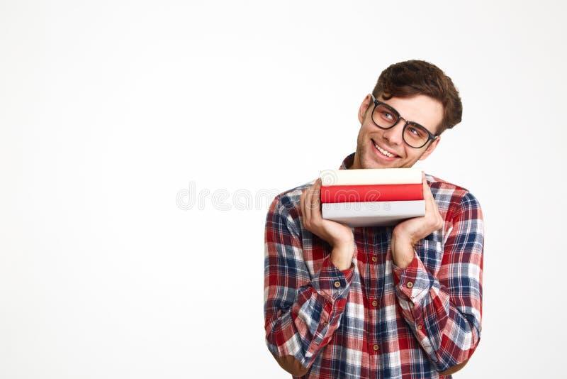 Retrato de un estudiante masculino casual alegre en lentes foto de archivo libre de regalías