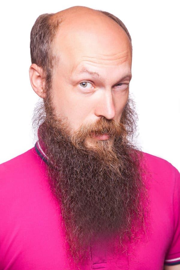 Retrato de un hombre barbudo calvo divertido fotos de archivo libres de regalías