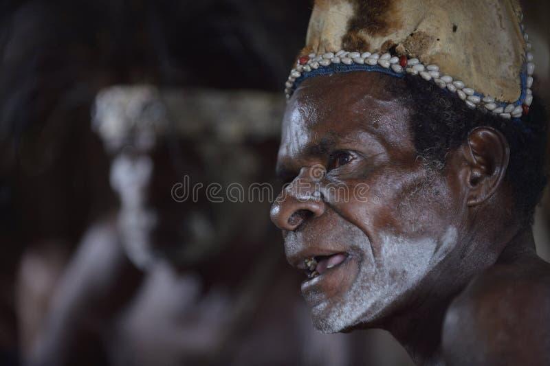 Retrato de un hombre de la tribu de la gente de Asmat con la pintura ritual de la cara en la ceremonia que da la bienvenida de As imagen de archivo