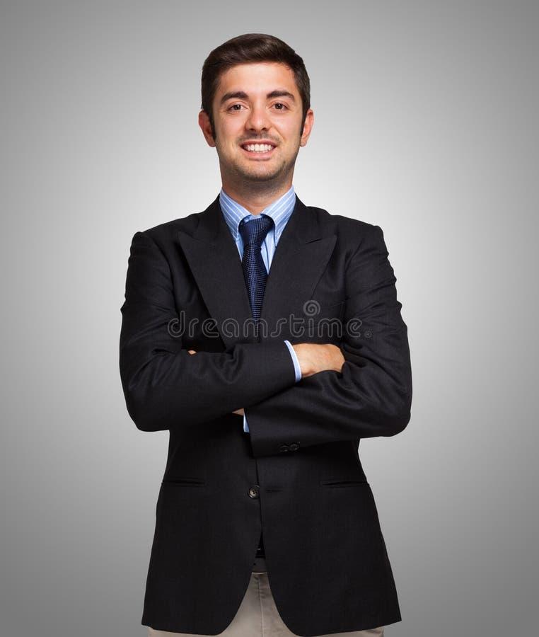 Retrato de un hombre de negocios joven hermoso confiado imagen de archivo