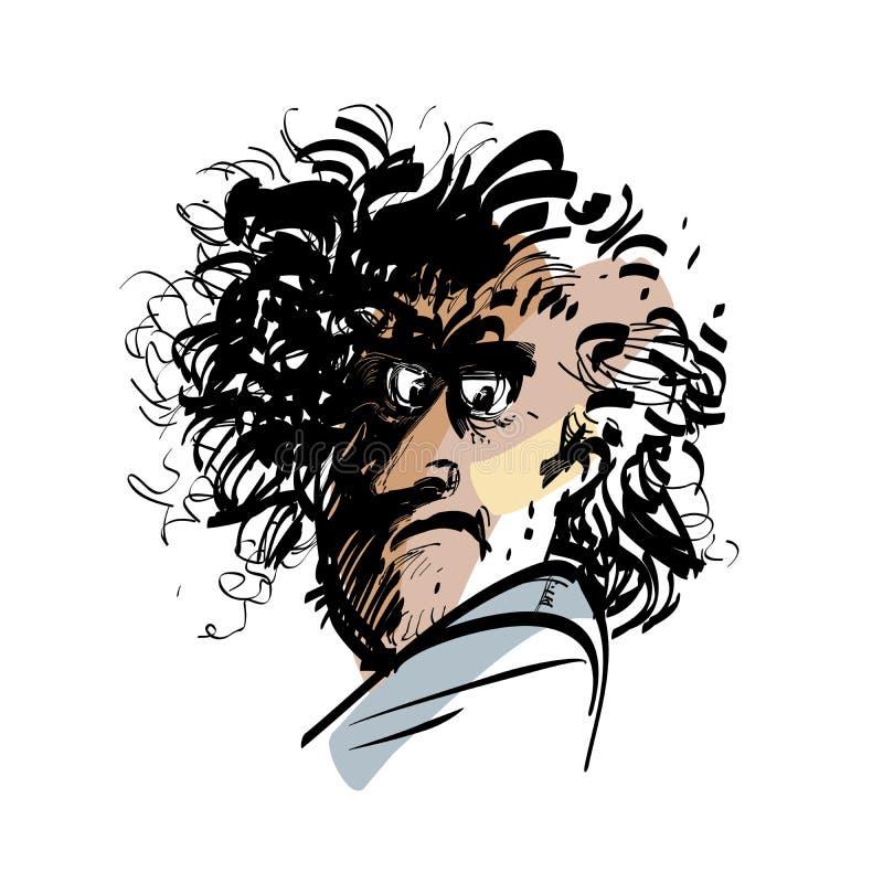 Retrato de un hombre divertido stock de ilustración
