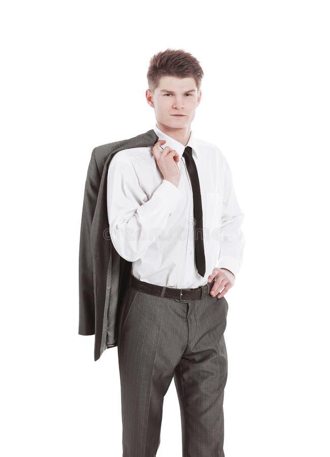 Retrato de un hombre joven confidente Aislado en blanco imagen de archivo libre de regalías