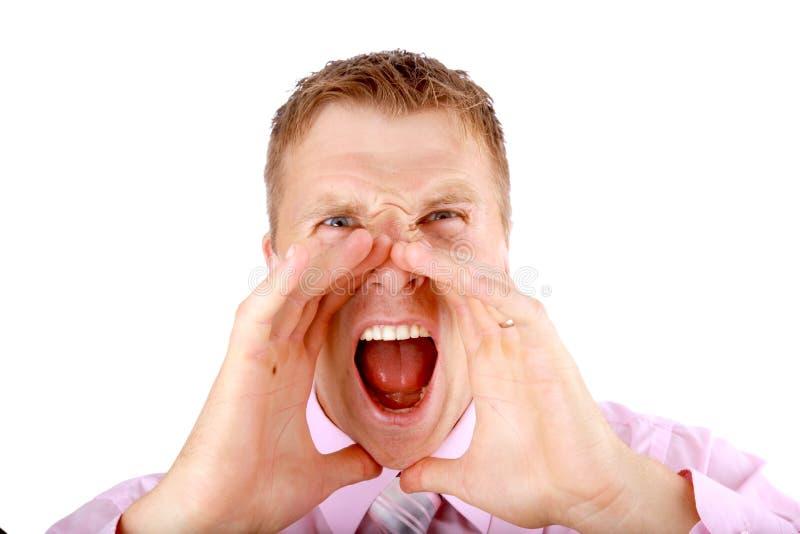 Retrato de un hombre joven que grita   imagen de archivo