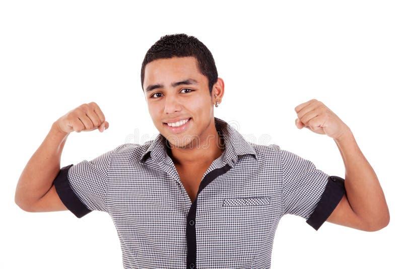 Retrato de un hombre latino joven muy feliz fotos de archivo