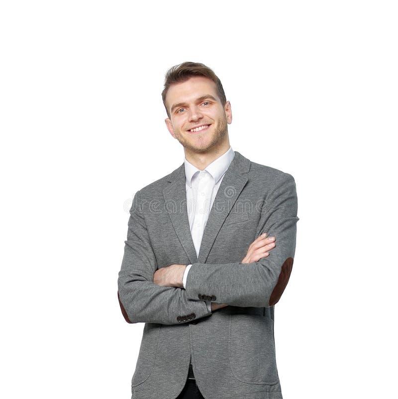 Retrato de un hombre de negocios joven acertado Aislado en blanco fotos de archivo libres de regalías