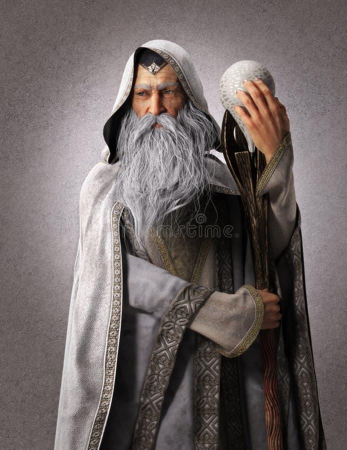 Retrato de un mago blanco de la fantasía con un personal y un fondo del contexto libre illustration